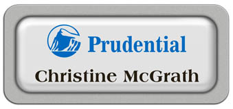 Metal Name Tag: White Metal Name Tag with a Silver Plastic Border and Epoxy