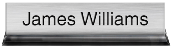 Brushed Aluminum Plastic Plate with Black Text, Black Acrylic Deskplate