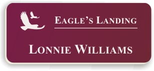 Smooth Plastic Name Tag: Claret with White - LM922-622