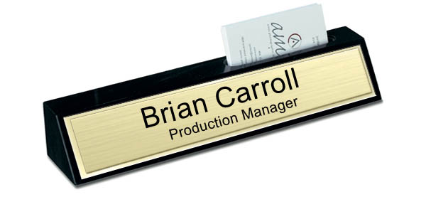 Black Marble Desk Name Plate with Card Holder - Brushed Gold with Shiny Gold Border