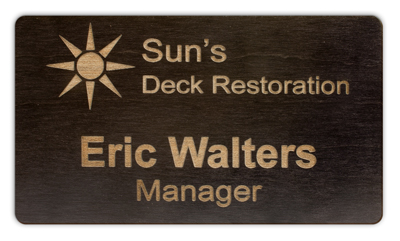 Black Stained Maple Wooden Name Tag - LSTY33