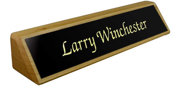 Solid Ash (wooden) Desk Plate - Black Metal Plate with Gold Engraving