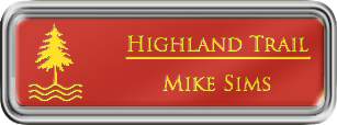 Framed Name Tag: Silver Plastic (rounded corners) - Crimson and Yellow Plastic Insert with Epoxy