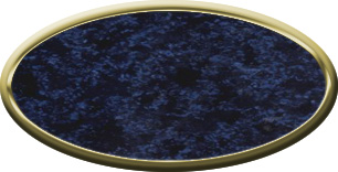 Blank Oval Plastic Gold Nametag with Celestial Blue