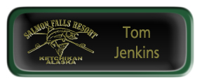 Metal Name Tag: Black and Gold with Epoxy and Green Metal Border