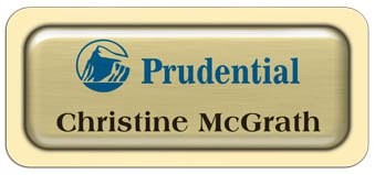 Metal Name Tag: Brushed Gold Metal Name Tag with a Ivory Plastic Border and Epoxy