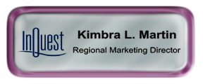 Metal Name Tag: Shiny Silver with Shiny Purple Metal Border