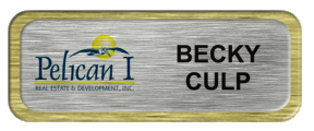 Metal Name Tag: Brushed Silver with Brushed Gold Metal Border