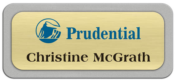 Metal Name Tag: Brushed Gold Metal Name Tag with a Silver Plastic Border