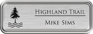 Framed Name Tag: Silver Plastic (rounded corners) - Brushed Aluminum and Black Plastic Insert