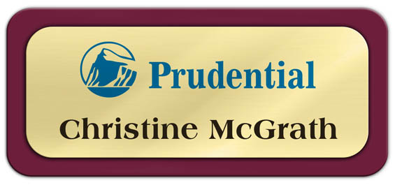 Metal Name Tag: Shiny Gold Metal Name Tag with a Burgundy Plastic Border