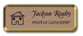 Framed Name Tag: Gold Metal (rounded corners) - Brushed Copper and Black Plastic Insert with Epoxy