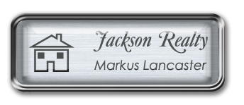 Framed Name Tag: Silver Metal (rounded corners) - Brushed Aluminum and Black Plastic Insert with Epoxy