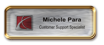 Rose Gold Metal Framed Epoxy Nametag with Brushed Silver Metal Insert