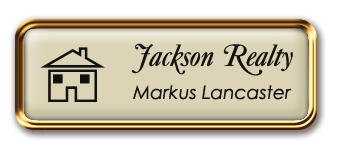 Framed Name Tag: Rose Gold Metal (rounded corners) - Almond and Black Plastic Insert with Epoxy