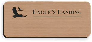 Blank Smooth Plastic Name Tag with Logo: Brushed Copper and Black - LM 922-894