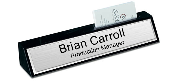Black Marble Desk Name Plate with Card Holder - Brushed Silver with Shiny Silver Border