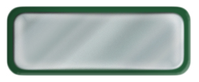 Blank Shiny Silver Nametag with a Green Metal Border