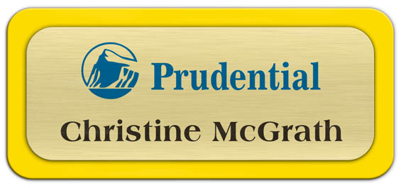 Metal Name Tag: Brushed Gold Metal Name Tag with a Yellow Plastic Border
