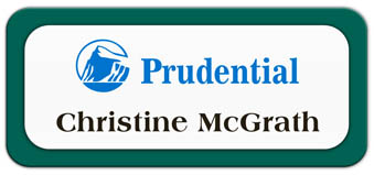 Metal Name Tag: White Metal Name Tag with a Pine Green Plastic Border