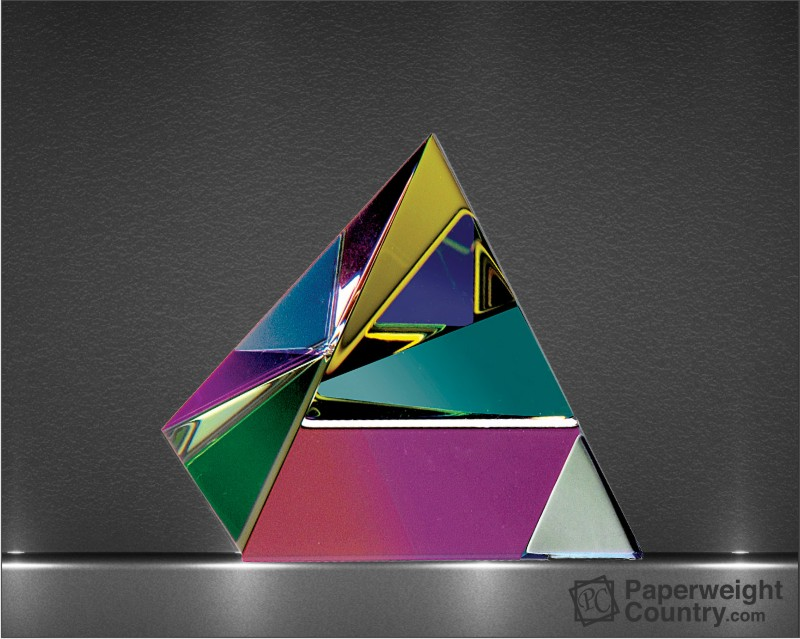 3 1/8 x 3 x 3 Inch Color Coated Optic Crystal Pyramid Paperweight
