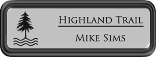 Framed Name Tag: Black Plastic (rounded corners) - Smooth Silver and Black Plastic Insert
