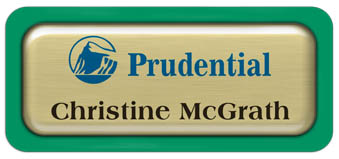 Metal Name Tag: Brushed Gold Metal Name Tag with a Bright Green Plastic Border and Epoxy
