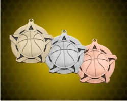 2 1/4 inch Basketball Super Star Medals