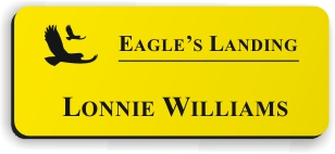 Smooth Plastic Name Tag: Canary Yellow with Black - LM922-704