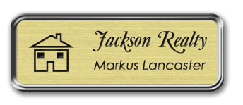 Silver Metal Framed Nametag with Euro Gold and Black