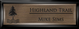 Framed Name Tag: Black Plastic (squared corners) - Deep Bronze and Black Plastic Insert with Epoxy
