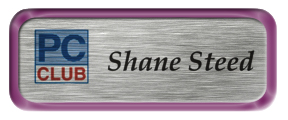 Metal Name Tag: Brushed Silver with Shiny Purple Metal Border
