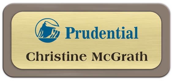 Metal Name Tag: Brushed Gold Metal Name Tag with a Taupe Plastic Border