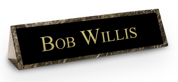 Green Marble Triangle Desk Name Plate Black Plate With