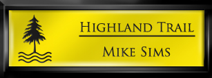 Framed Name Tag: Black Plastic (squared corners) - Canary Yellow and Black Plastic Insert with Epoxy