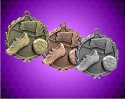 1 3/4 Inch Soccer Wreath Medal