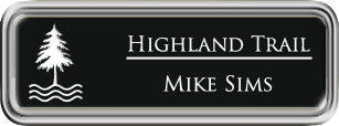Framed Name Tag: Silver Plastic (rounded corners) - Black and White Plastic Insert