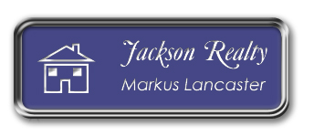 Silver Metal Framed Nametag with Purple and White