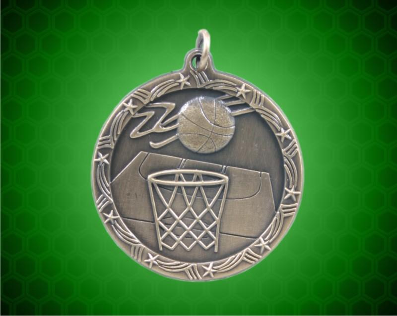 1 3/4 inch Gold Basketball Shooting Star Medal