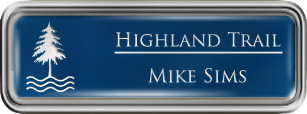 Framed Name Tag: Silver Plastic (rounded corners) - Patriot Blue and White Plastic Insert with Epoxy