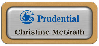 Metal Name Tag: Brushed Silver Metal Name Tag with a Gold Plastic Border and Epoxy
