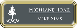 Framed Name Tag: Gold Plastic (rounded corners) - Smoke Grey and White Plastic Insert