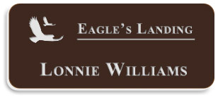Smooth Plastic Name Tag: Dark Brown with white -  LM922-842