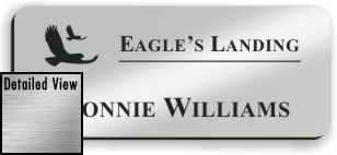 Smooth Plastic Name Tag: Shiny Silver with Black - LM922-334