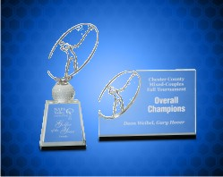 Crystal Golf Awards with Metal Oval Figure
