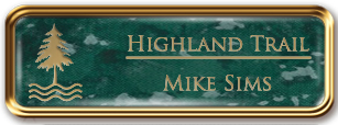 Framed Name Tag: Rose Gold Metal (rounded corners) - Verde and Gold Plastic Insert with Epoxy