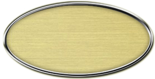 Blank Silver Oval Framed Nametag with Euro Gold