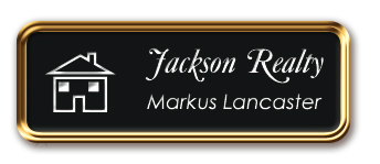 Rose Gold Metal Framed Nametag with Black and White