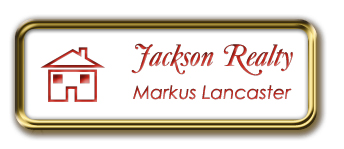 Framed Name Tag: Gold Metal (rounded corners) - White and Crimson Plastic Insert with Epoxy