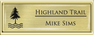 Framed Name Tag: Gold Plastic (squared corners) - Euro Gold and Black Plastic Insert with Epoxy